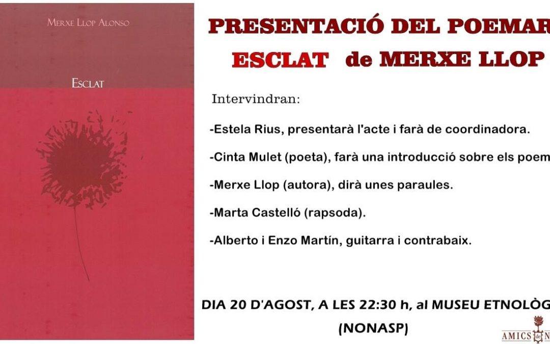 Presentación POEMARIO «Esclat» de Merche Llop y recital de Poesía