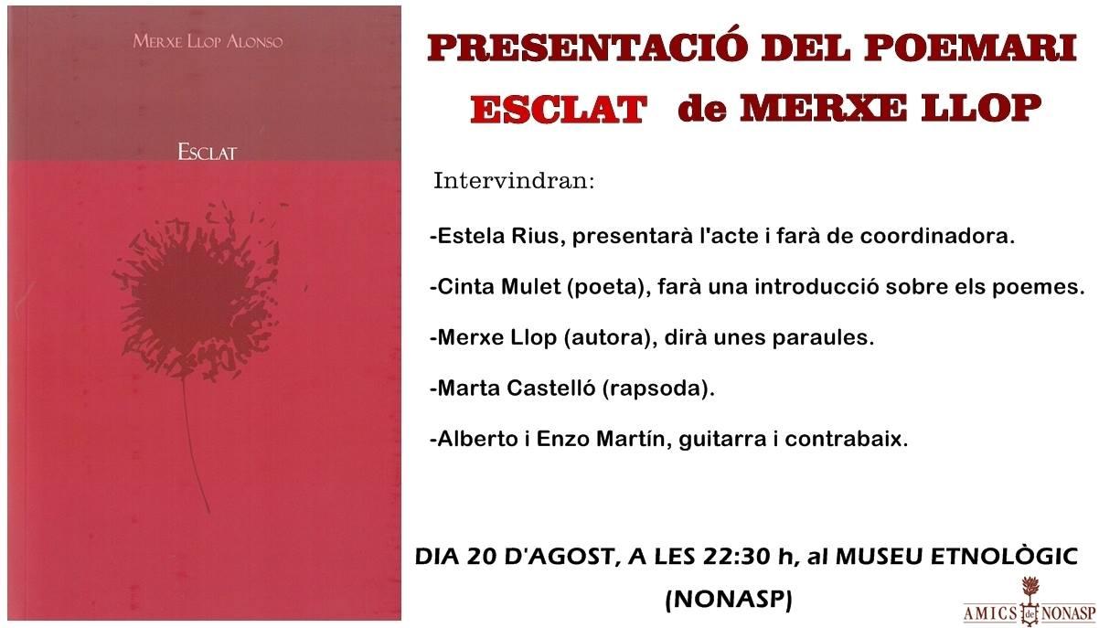 """Presentación POEMARIO """"Esclat"""" de Merche Llop y recital de Poesía"""
